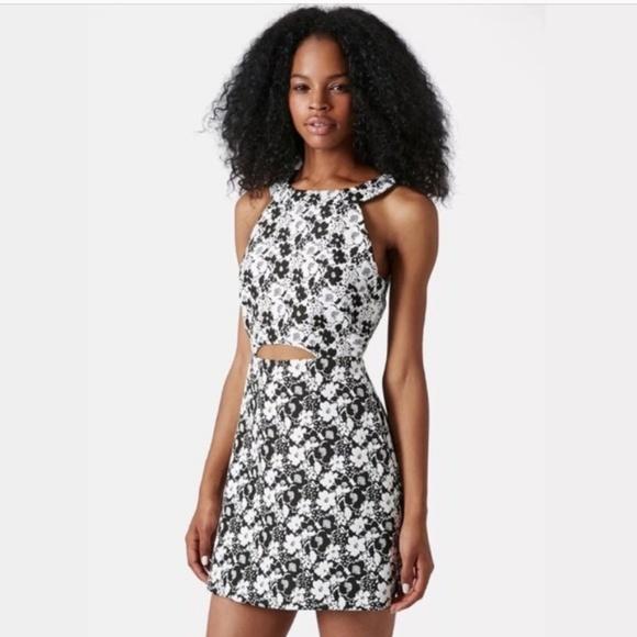 Topshop Mono Floral Dress Black White